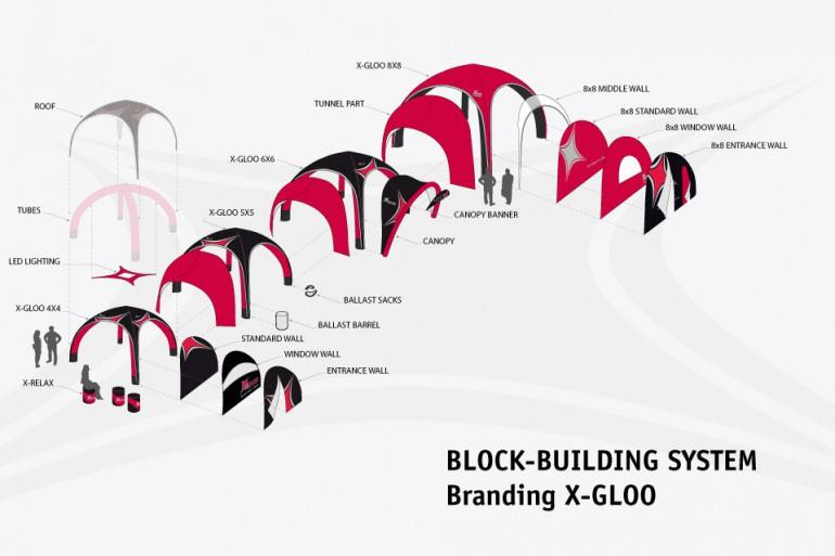 Block-building system - Branding X-Gloo